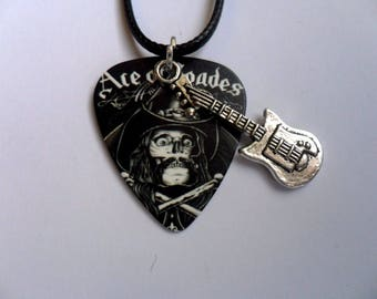 Handmade MOTORHEAD LEMMY Guitar Ace of Spades Guitar Pick / Plectrum Leather Necklace