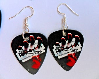 Handmade JUDAS PRIEST  Guitar Pick // Plectrum Silver Earrings