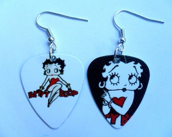 Handmade BETTY BOOP Guitar Pick // Plectrum Earrings A Different Picture each side