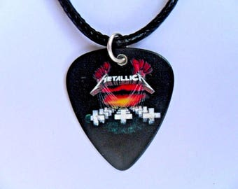 Handmade  METALLICA   Guitar Pick / Plectrum Leather Necklace