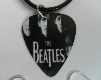 Handmade THE BEATLES   Double Sided Guitar Pick // Plectrum Leather Necklace