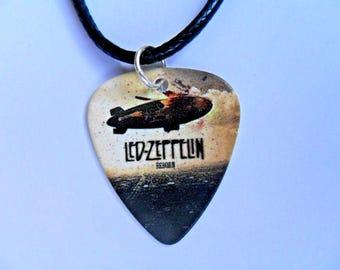 Handmade  LED ZEPPELIN  Guitar Ace of Spades Guitar Pick / Plectrum Leather Necklace