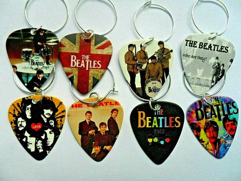 Earrings THE BEATLES  Guitar Pick  Keyring Badge Necklace  a