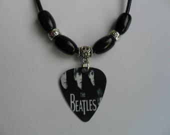 Handmade THE BEATLES   Double Sided Guitar Pick // Plectrum Decorated Leather Necklace