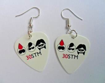 Handmade  30 Seconds To Mars  Double Sided Guitar Pick // Plectrum Silver Earrings