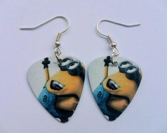 Handmade MINIONS  Double Sided Guitar Pick // Plectrum Silver Earrings