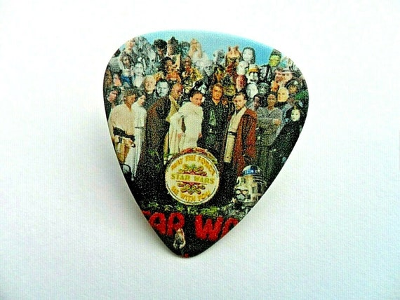 Metallica Black Print on white guitar pick plectrum Pin Badge Lapel Tie