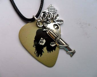 Handmade Guns n Roses  Double Sided Guitar Pick // Plectrum Leather Necklace