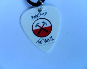 Handmade PINK FLOYD  Double Sided Guitar Pick // Plectrum Leather Necklace