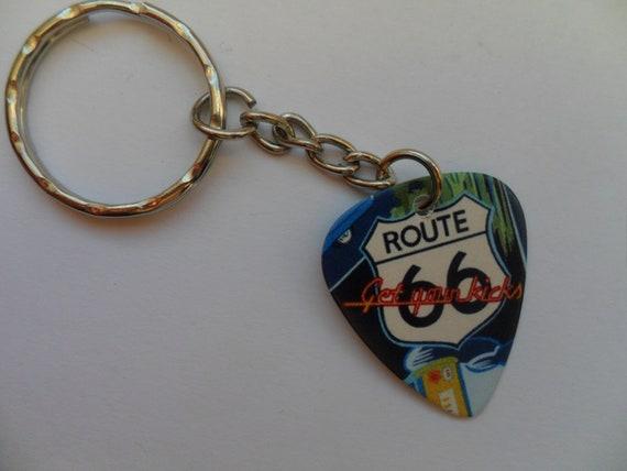 U S Route 66 Road Pendant Necklace Guitar Pick Custom Keychain Pet Card