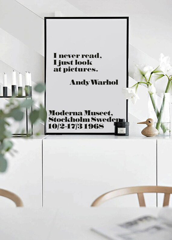Warhol minimalist Quote Gift Wall art print Famous for fifteen minutes