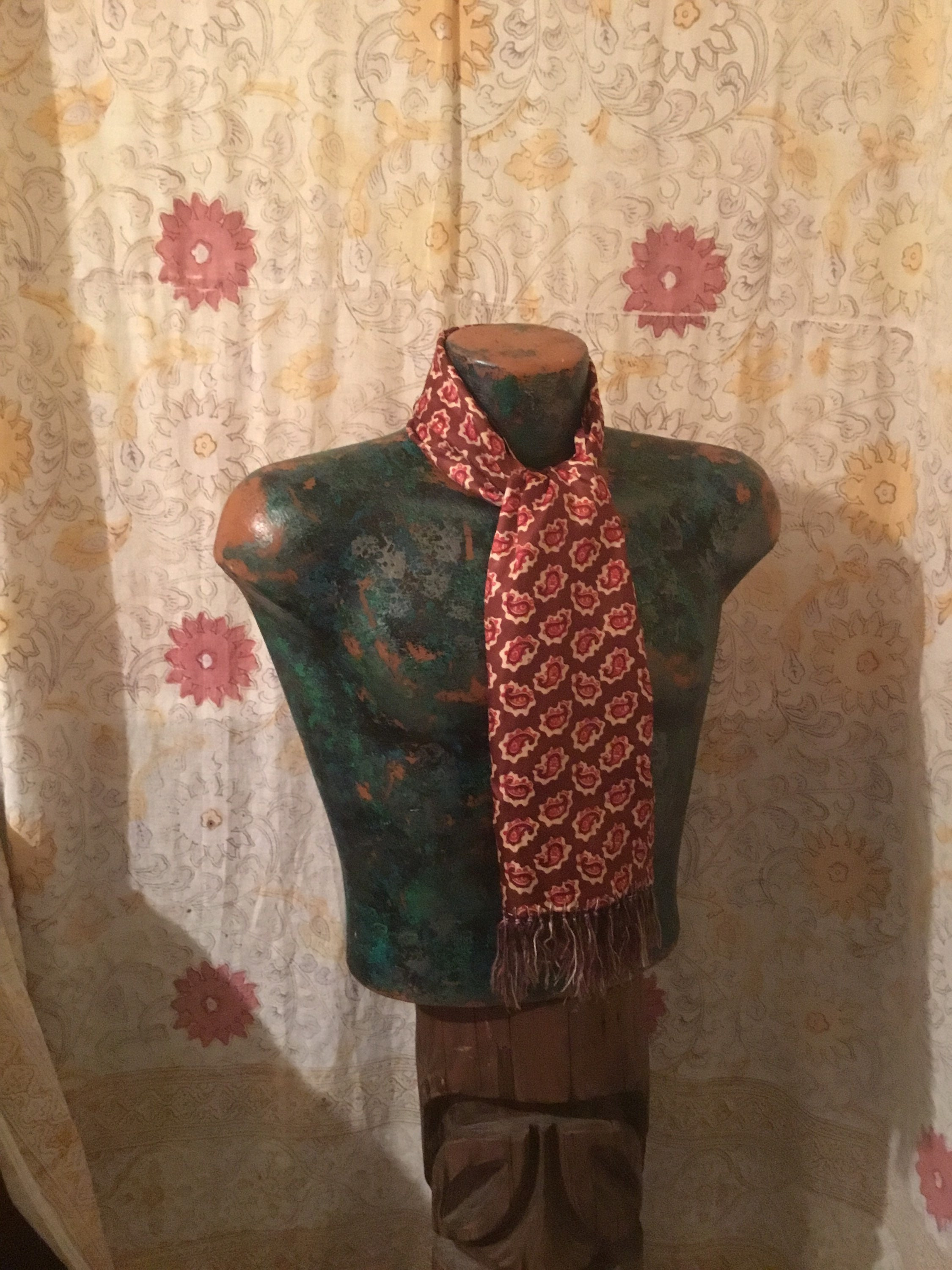 1940s Mens Ties | Wide Ties & Painted Ties Sharp 1940S Mens Cold Rayon ScarfCarvat, Beautiful in Every Way, So Nice, Excellent Shape Perfect For Fall  Winter Dress Ups $4.50 AT vintagedancer.com