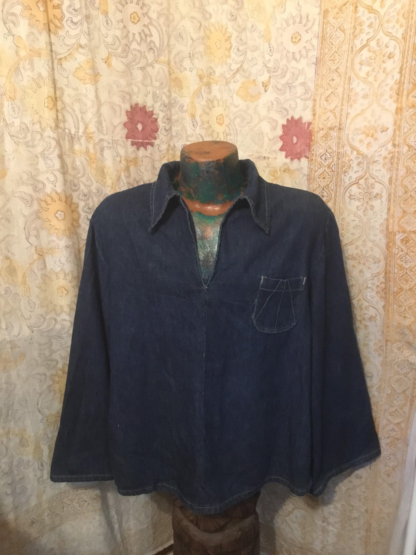 1960s – 70s Men's Ties | Skinny Ties, Slim Ties Cool 1960S Mens Denim Pullover Top, Big Collars, Flared Sleeves, One Pocket, A Metal Rivet On Each Side Arm, Large, Great Shape $8.00 AT vintagedancer.com