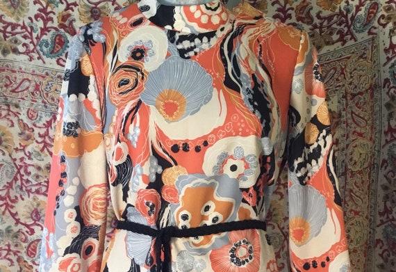 Psychedelic Floral, Ocean Print Long Sleeved Dress