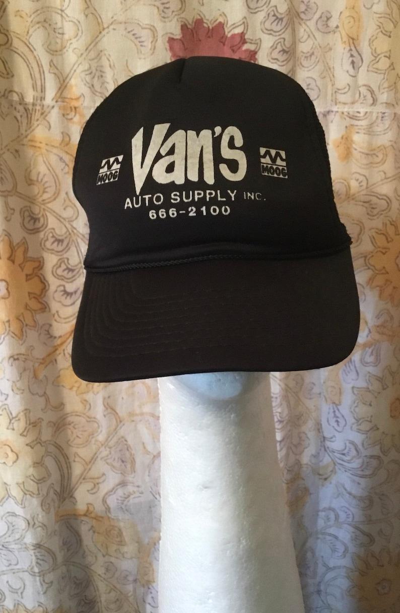 Black Trucker Hat From 1970s80s Detroit Hat Collector\u2019s Estate Never Worn 1970s \u201cVAN\u2019S Auto Supply\u201d From Detroit Total GEARHEAD!!