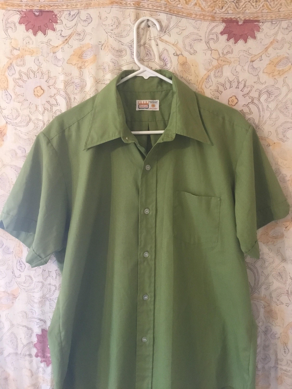 1960s – 70s Men's Ties | Skinny Ties, Slim Ties Sharp Mens 1960S Olive Green Short Sleeve Shirt, One Pocket, Great Shape, Cool Collars, Old Cranbrook Label, Dacron35Cotton $50.00 AT vintagedancer.com
