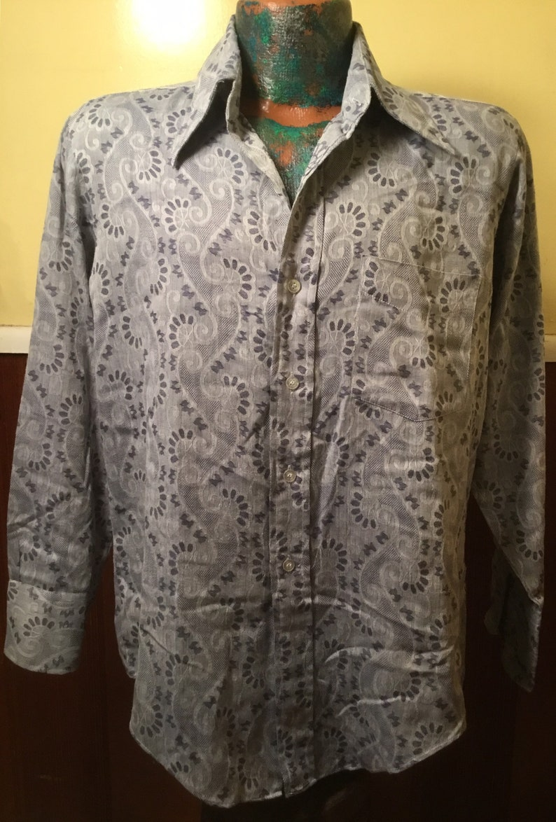 Large Looks Never Worn Huge Collars Old Marlboro Tag! Psychedelic 1960s Mens Long Sleeve CottonPoly Blend Groovy Hippy Shirt