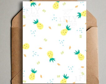 Fun Summer Pineapple Greeting Card - Fun Printable Card - Tropical Pineapple Pattern - Fruit Stationery - Digital Download - Retro Pineapple