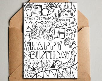 Printable Cat Birthday Card From All Of Us Black White