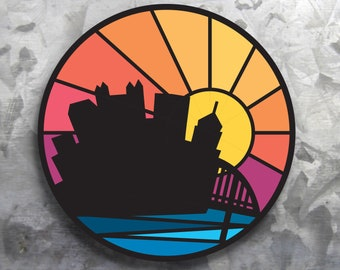 "Pittsburgh Sticker - City Sunset Sticker - 3"" Round Vinyl Weatherproof Sticker - Pittsburgh Decal - Cool City Bridge Design - Car Bumper"