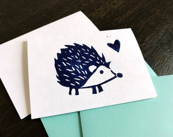 Handmade Cards - Hedgehog Block Print Mini Gift Card Holders Gift Tags - Cute Hedgehog - Blue or Pink Animal Stamped Greeting Cards