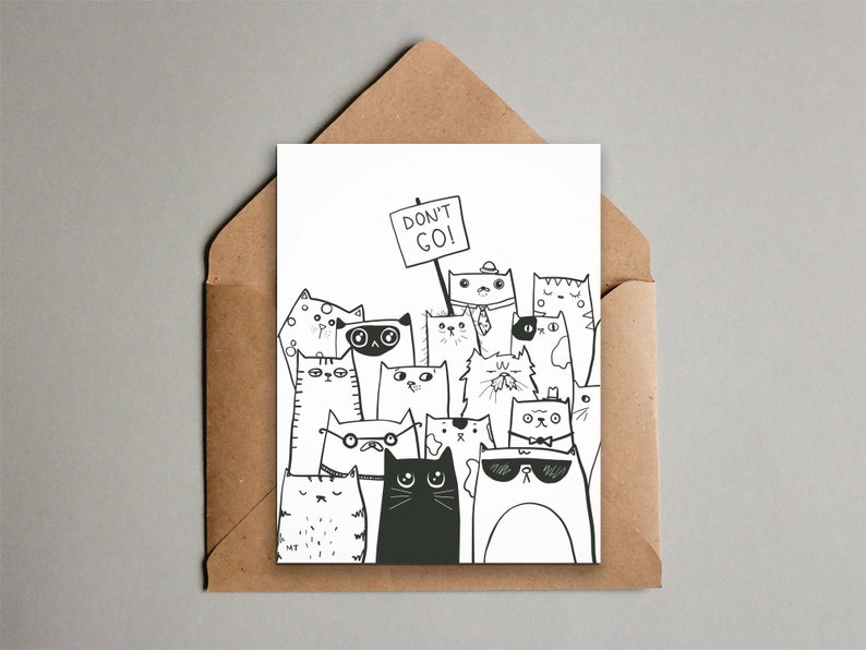 image regarding Farewell Card Printable titled Printable Dont Transfer Goodbye Cats Greeting Card - Against All of Us - Coworker Leaving - Boasting Farewell - Prompt Down load - Black + White
