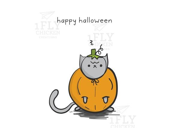 Grumpy Cat Pumpkin Halloween Card Printable Pumpkin Cat Etsy