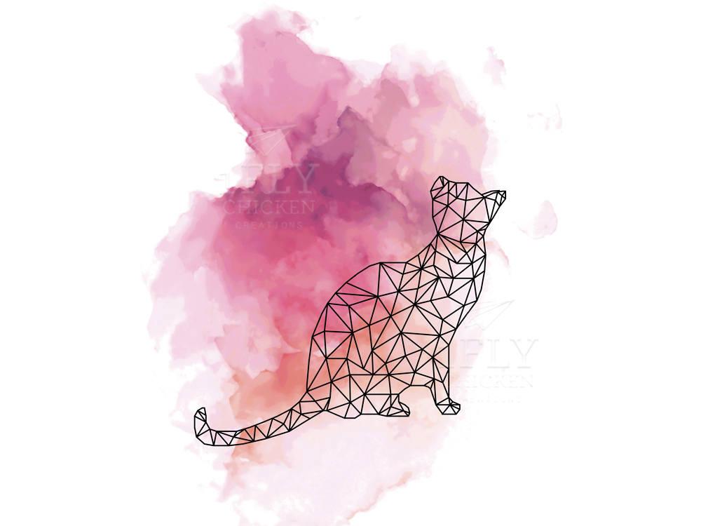 Cool Cat Poster Watercolor Painting Art Print Geometric