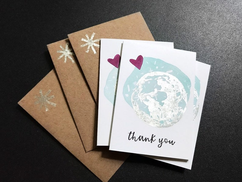 Handmade Thank You Cards  Metallic Moon Notes  Envelopes  image 0
