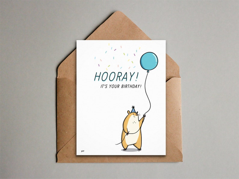 Hamster Birthday Card  Printable Happy Birthday Card  Cute image 0