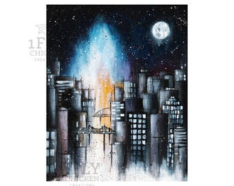 "City at Night Painting Giclée Art Print - ""Blue-Fire Moon"" Cityscape Painting - Modern Urban Wall Decor - Bridges + Moon Painting - 8 x 10"