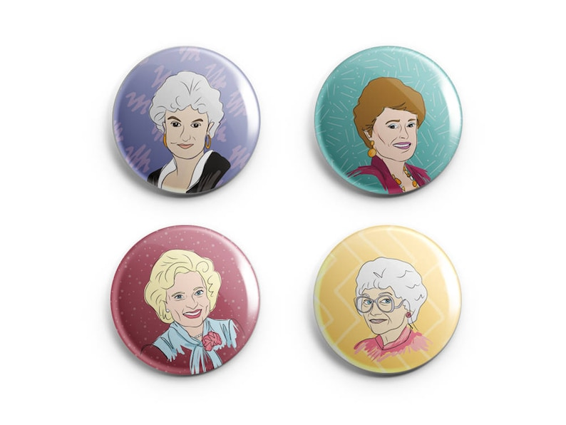 Golden Girls Pin or Magnet Set  Funny Friend  BFF Gift  image 0