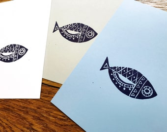 Retro Fish Block Print - Midcentury Modern Style Decor - Handmade Fish Art - Lino Carving Hand-Printed - Simple Tribal Pisces - 5x7