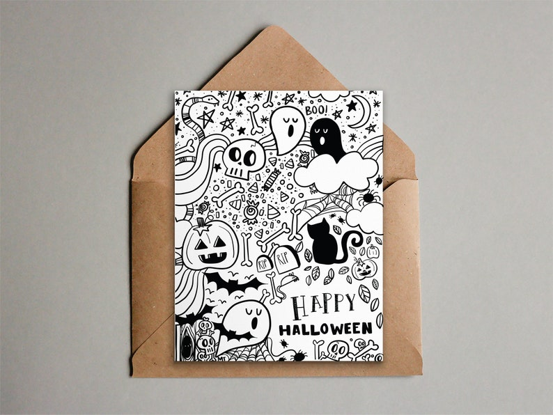 Doodle Halloween Card  Black and White Happy Halloween image 0