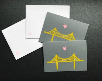 Pittsburgh Art Gift - Bridge Love Block Print Mini Card Set - Gift Card Holders - Pittsburgh Bridge + Pink Heart Gift Tag - Handmade Linocut