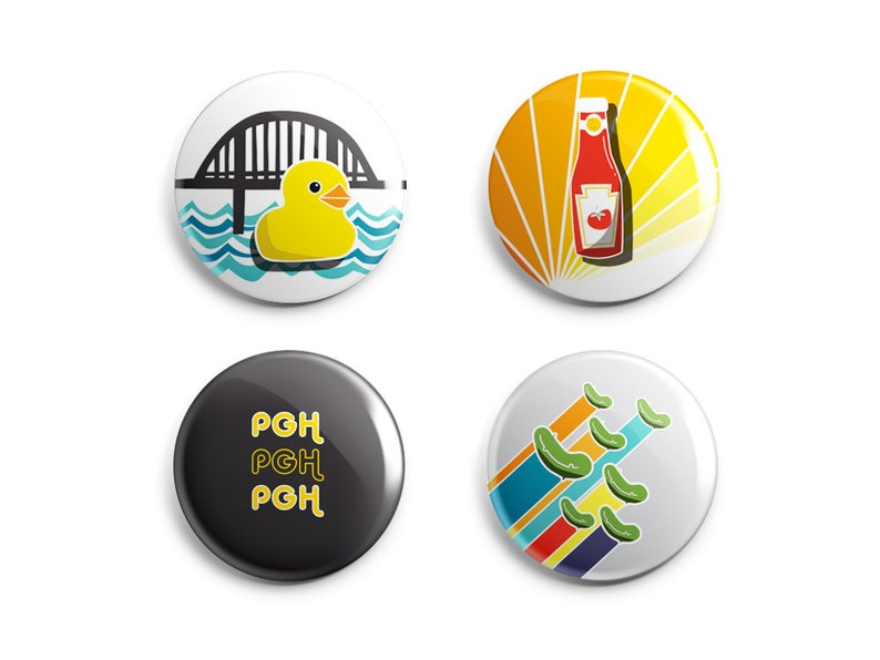 Pittsburgh Pin  Magnet Set  Retro Pittsburgh Designs  image 0