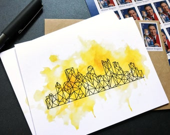 Pittsburgh Art Greeting Card - Stationery Note Cards - Watercolor + Geometric Line Art - Cool Black + Yellow Pittsburgh Gift  - All Occasion