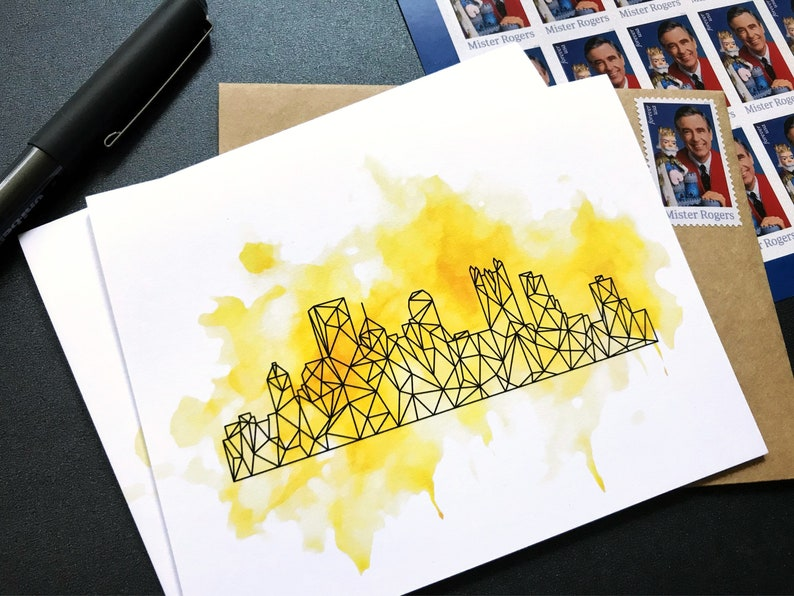 Pittsburgh Skyline Greeting Cards  Stationery Note Cards  image 0