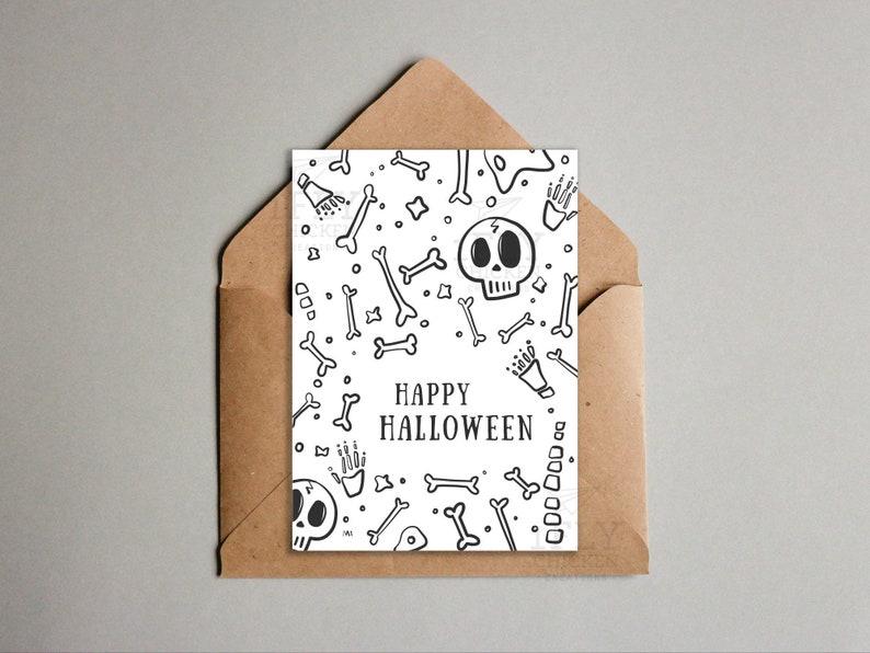 Fun Skeleton Bones Happy Halloween Card  Bones Doodle  image 0