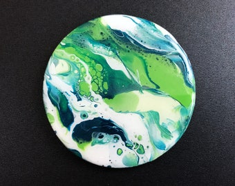 Pour Painting Mini - Glow in the Dark Planet - Trippy Space Magnet - Fluid Resin Art - Handmade Psychedelic Art - Small Gift - Space Decor