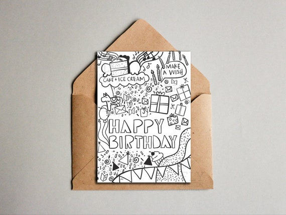 Printable Birthday Card Cool Doodle Drawing Birthday Etsy