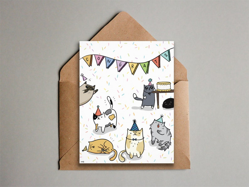 Funny Cat Party Congrats Card  Printable Card  image 0