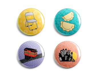 Cute Pittsburgh Pins + Magnets Gift - Pittsburgh Pin + Magnet Set - Parking Chair, Incline, Pierogi, City Design - Souvenir Local Pittsburgh