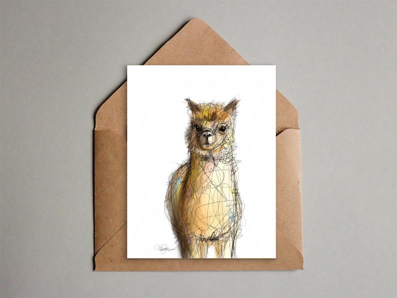Llama Greeting Card  Printable Card   Instant Download  image 0