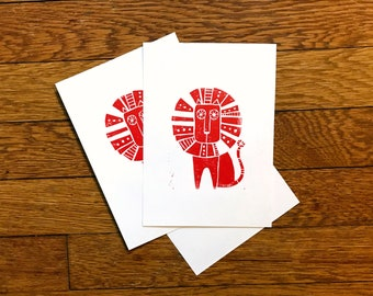 Retro Lion Block Print - Midcentury Modern Decor - Handmade Red Lion Cat Art - Lino Carving Hand-Printed - Simple Tribal Leo - 5x7