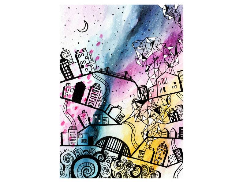 Watercolor City Painting Print  Abstract Cityscape Drawing  image 0