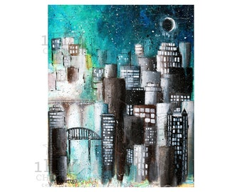 "Moon and Stars Cityscape Painting - Giclée Art Print - ""Never Lost"" - Acrylic on Maps - Mixed Media - Urban Night Sky - Bridge Wall Art"