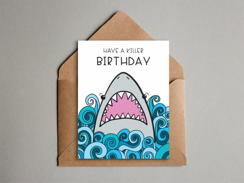 graphic about Printable Birthday Cards for Boys identify Enjoyment Shark Birthday Card - Printable Shark Card for Children - Shark 7 days - Quick Down load - Lovable Small children Birthday Card - 2 Measurements
