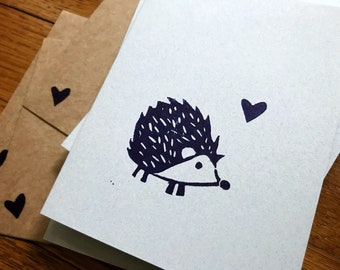 Cute Hedgehog Card Set - Handmade Block Print Hedgehog with Heart Stationery - Animal Print - Indigo on Flecked Blue - Set of 3