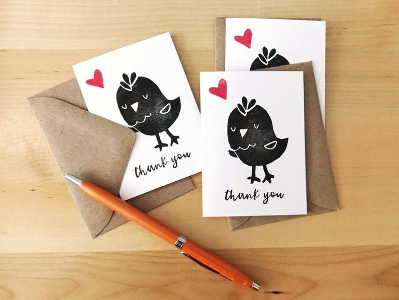 Chicken Thank You Cards  Handmade Mini Love Notes  Envelopes image 0